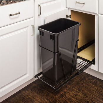 "Single Bin Bottom Mount Pullout Waste Container System, 35 Quart (8.75 Gallon) or 50 Quart (12.5 Gallon), Heavy Duty Black Wire Construction, Cans Sold Separately, Min. Cab. Opening: 15""W"