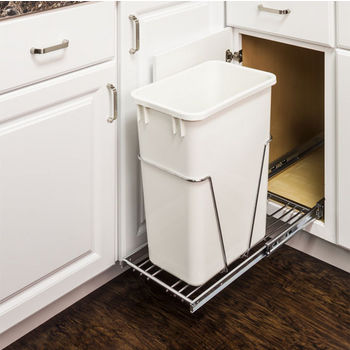 "Single Bin Bottom Mount Pullout Waste Container System, 35 Quart (8.75 Gallon) or 50 Quart (12.5 Gallon), Heavy Duty Chrome Wire Construction, Cans Sold Separately, Min. Cab. Opening: 15""W"