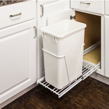 "Single Bin Bottom Mount Pullout Waste Container System, 35 Quart (8.75 Gallon) or 50 Quart (12.5 Gallon), Heavy Duty White Wire Construction, Cans Sold Separately, Min. Cab. Opening: 15""W"