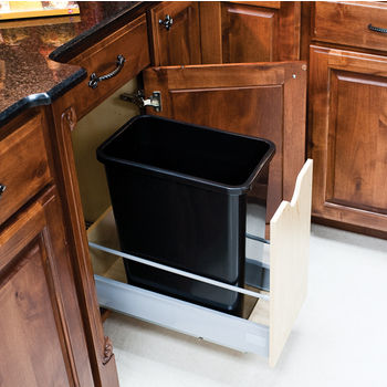 """Single Bin Bottom Mount Pullout Waste Container System, 35 Quart (8.75 Gallon), Black Can, Min. Cab. Opening: 12-1/2""""W"""