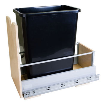 """Single Bin Bottom Mount Pullout Waste Container System, 50 Quart (12.5 Gallon), Black Can, Min. Cab. Opening: 12-1/2""""W"""