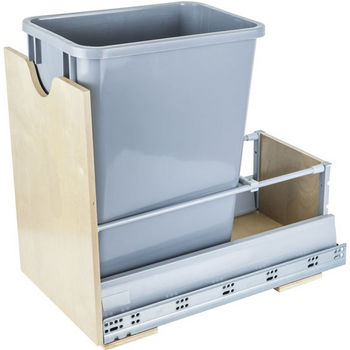 """Single Bin Bottom Mount Pullout Waste Container System, 35 Quart (8.75 Gallon), Gray Can, Min. Cab. Opening: 12-1/2""""W"""