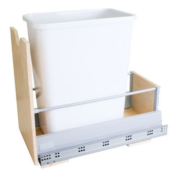 """Single Bin Bottom Mount Pullout Waste Container System, 35 Quart (8.75 Gallon), White Can, Min. Cab. Opening: 12-1/2""""W"""