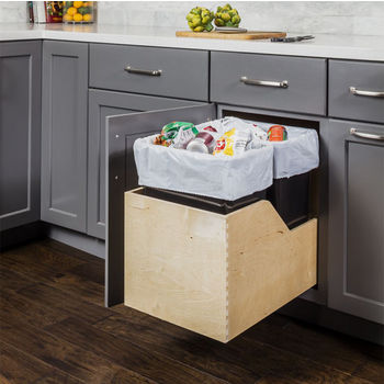"Double Bin Bottom Mount Pullout Waste Container System, 35 Quart (8.75 Gallon), Black Cans, Min. Cab. Opening: 15""W"