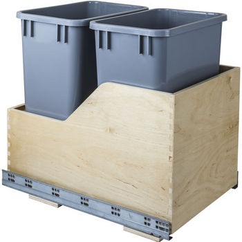 "Double Bin Bottom Mount Pullout Waste Container System, 35 Quart (8.75 Gallon), Gray Cans, Min. Cab. Opening: 15""W"