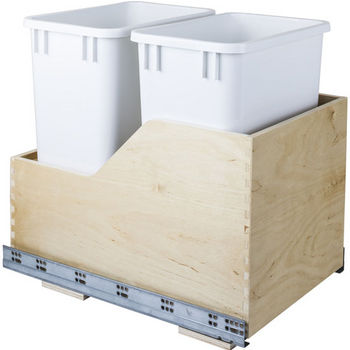 "Double Bin Bottom Mount Pullout Waste Container System, 35 Quart (8.75 Gallon), White Cans, Min. Cab. Opening: 15""W"