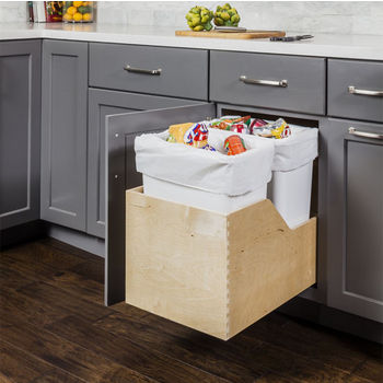 """Double Bin Bottom Mount Pullout Waste Container System, 35 Quart (8.75 Gallon), White Cans, Min. Cab. Opening: 15""""W"""