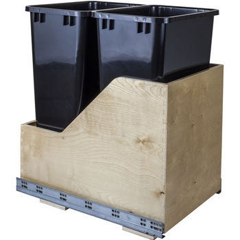 "Double Bin Bottom Mount Pullout Waste Container System, 50 Quart (12.5 Gallon), Black Cans, Min. Cab. Opening: 15""W"