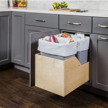 "Double Bin Bottom Mount Pullout Waste Container System, 50 Quart (12.5 Gallon), Gray Cans, Min. Cab. Opening: 15""W"