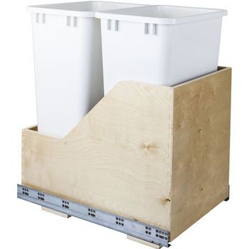 """Double Bin Bottom Mount Pullout Waste Container System, 50 Quart (12.5 Gallon), White Cans, Min. Cab. Opening: 15""""W"""