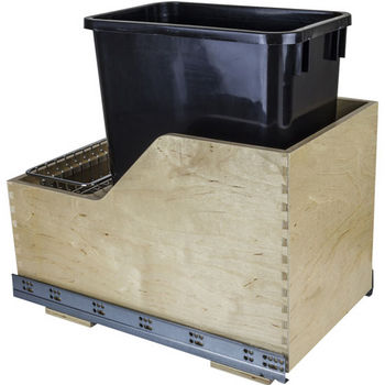 "Single Bin Pullout Waste Container System, 35 Quart (8.75 Gallon), Black Can w/ SS Trash Bag Basket, Min. Cab. Opening: 15""W"