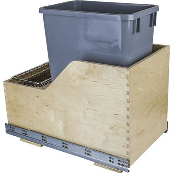 "Single Bin Pullout Waste Container System, 35 Quart (8.75 Gallon), Gray Can w/ SS Trash Bag Basket, Min. Cab. Opening: 15""W"