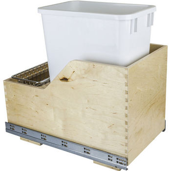 "Single Bin Pullout Waste Container System, 35 Quart (8.75 Gallon), White Can w/ SS Trash Bag Basket, Min. Cab. Opening: 15""W"