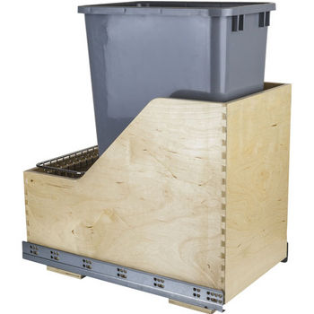 "Single Bin Pullout Waste Container System, 50 Quart (12.5 Gallon), Gray Can w/ SS Trash Bag Basket, Min. Cab. Opening: 15""W"