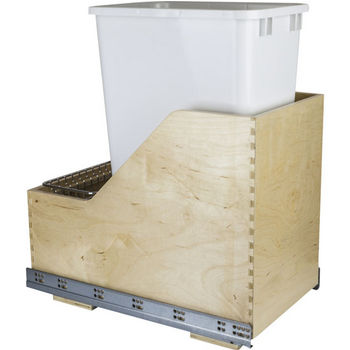 "Single Bin Pullout Waste Container System, 50 Quart (12.5 Gallon), White Can w/ SS Trash Bag Basket, Min. Cab. Opening: 15""W"