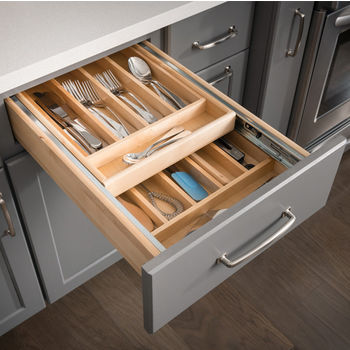 Nested Double Cutlery Drawer, with pre-assembled 100lb full extension ball bearing drawer slides