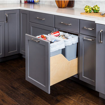 """Double Bin Bottom Mount Pullout Waste Container System w/ Six-way Adjustable Door Mounting Brackets, 35 Quart (8.75 Gallon), Gray Cans, Min. Cab. Opening: 15""""W"""