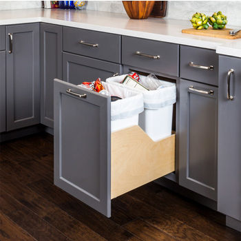 """Double Bin Bottom Mount Pullout Waste Container System w/ Six-way Adjustable Door Mounting Brackets, 35 Quart (8.75 Gallon), White Cans, Min. Cab. Opening: 15""""W"""