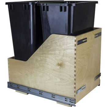 """Double Bin Bottom Mount Pullout Waste Container System w/ Six-way Adjustable Door Mounting Brackets, 50 Quart (12.5 Gallon), Black Cans, Min. Cab. Opening: 15""""W"""