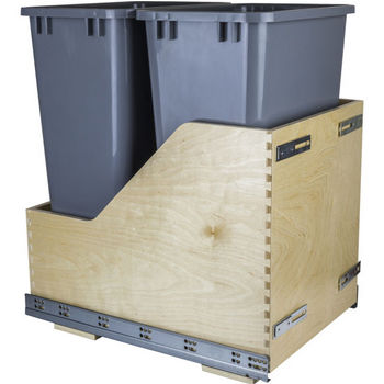 """Double Bin Bottom Mount Pullout Waste Container System w/ Six-way Adjustable Door Mounting Brackets, 50 Quart (12.5 Gallon), Gray Cans, Min. Cab. Opening: 15""""W"""