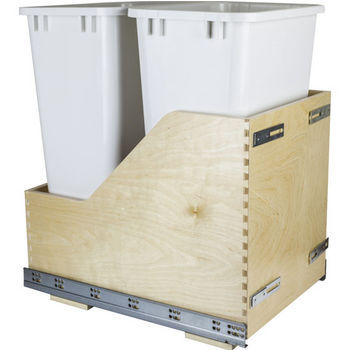 "Double Bin Bottom Mount Pullout Waste Container System w/ Six-way Adjustable Door Mounting Brackets, 50 Quart (12.5 Gallon), White Cans, Min. Cab. Opening: 15""W"