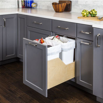 """Double Bin Bottom Mount Pullout Waste Container System w/ Six-way Adjustable Door Mounting Brackets, 50 Quart (12.5 Gallon), White Cans, Min. Cab. Opening: 15""""W"""