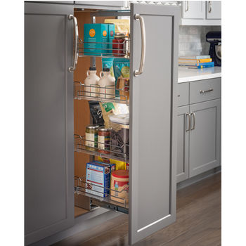 "Wire Pantry Pullout, with Heavy-Duty Soft-Close Slides, 9-7/8""W x 19-3/8""D x 49-58/"" - 63""H, For a 12"" wide cabinet opening"