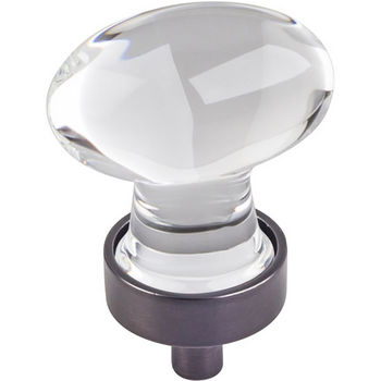 """Jeffrey Alexander Harlow Collection 1-1/4"""" Diameter Small Glass Oval Football Decorative Cabinet Knob in Brushed Oil Rubbed Bronze"""