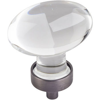 """Jeffrey Alexander Harlow Collection 1-5/8"""" Diameter Large Glass Oval Football Decorative Cabinet Knob in Brushed Pewter"""