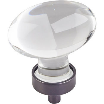 """Jeffrey Alexander Harlow Collection 1-5/8"""" Diameter Large Glass Oval Football Decorative Cabinet Knob in Brushed Oil Rubbed Bronze"""