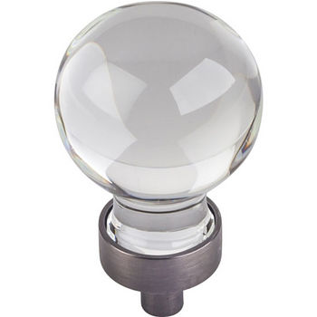 """Jeffrey Alexander Harlow Collection 1-1/16"""" Diameter Small Glass Sphere Decorative Cabinet Knob in Brushed Pewter"""