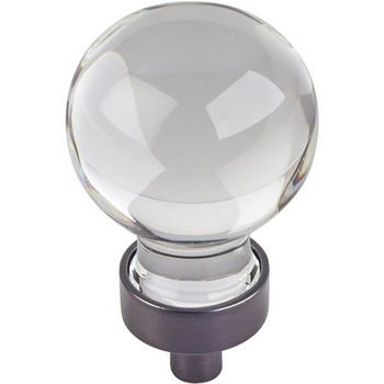 """Jeffrey Alexander Harlow Collection 1-1/16"""" Diameter Small Glass Sphere Decorative Cabinet Knob in Brushed Oil Rubbed Bronze"""