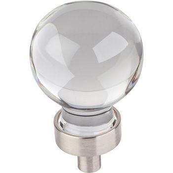 "Jeffrey Alexander Harlow Collection 1-1/16"" Diameter Small Glass Sphere Decorative Cabinet Knob in Satin Nickel"