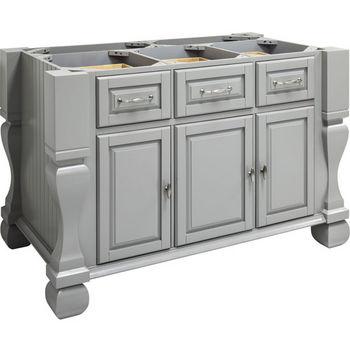 "Jeffrey Alexander Tuscan Kitchen Island with Hard Maple Butcher Block Top, Grey, 54""W x 34""D x 37""H"