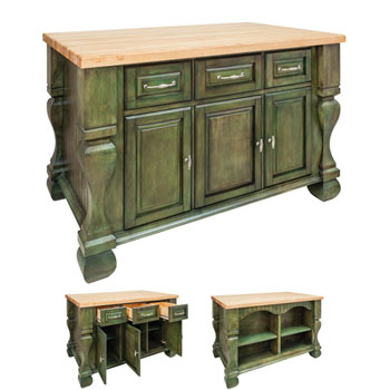 Jeffrey Alexander Tuscan Kitchen Island With Hard Maple Butcher Block Top Aqua Green 54 W X 34 D 37 H