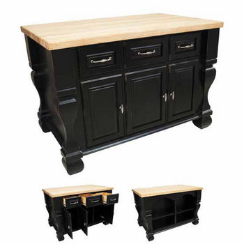 Jeffrey Alexander Tuscan Kitchen Island With Hard Maple Butcher Block Top Distressed Black 54 W X 34 D 37 H