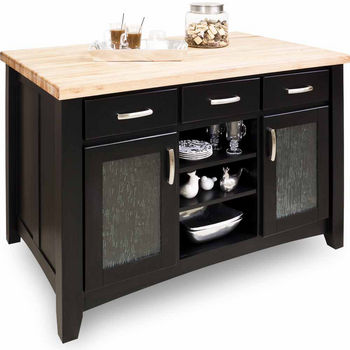 Jeffrey Alexander Kitchen Island, Distressed Black