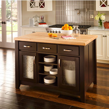 Jeffrey Alexander Contemporary Kitchen Island with Hard Maple Butcher Block Top, Distressed Black