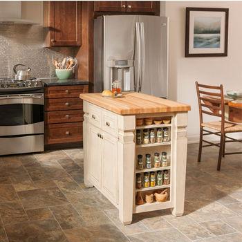 Jeffrey Alexander Loft Kitchen Island with Hard Maple Butcher Block Top, French White