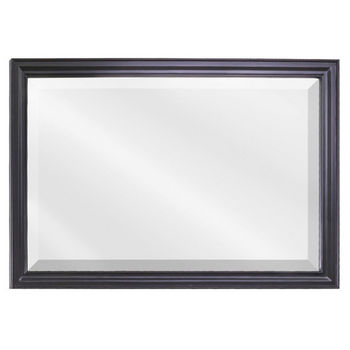 "Jeffrey Alexander Douglas Mirror with Beveled Glass, Painted Black, 42""W x 28""H"