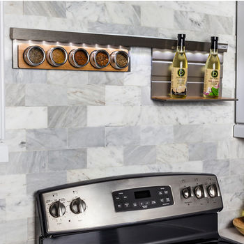 Smart Rail Storage Solution LED w/ Spice Shelf & Hanging Shelf