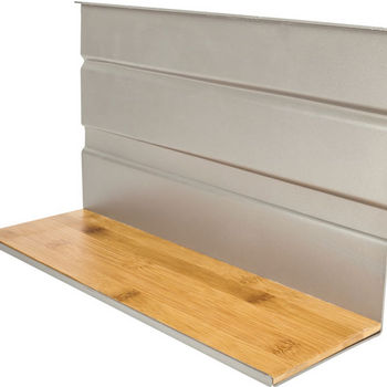 """Single Hanging Shelf for Smart Rail Storage Solution, Brushed aluminum finish with bamboo wood accent, 13-3/4""""W x 4-1/2""""D x 8""""H"""