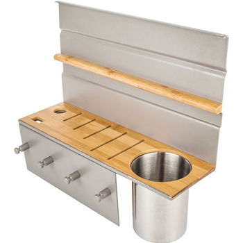 Knife-Block Combo Hanging Shelf for Smart Rail Storage Solution, Holds up to 5 knives and includes a cutout for kitchen shears and knife sharpener. Includes a stainless steel canister to hold other utensils. Stylish brushed aluminum finish with bamboo woo