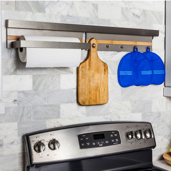 Smart Rail Storage Solution w/ Paper Towel Holder & 5 Hook Shelf