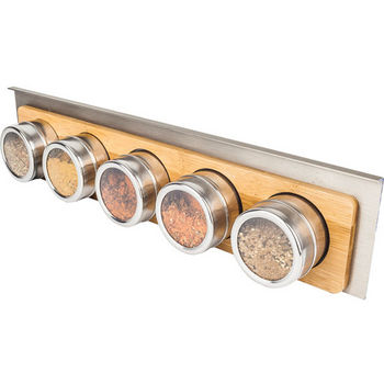 """Hanging 5 Spice Bottle Shelf for Smart Rail Storage Solution, Spice canister bottoms are magnetic to attach to the hanging shelf. Stylish brushed aluminum finish with bamboo wood accent, 17-1/2""""W x 2""""D x 4""""H"""