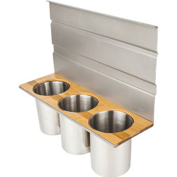 """Canister Hanging Shelf for Smart Rail Storage Solution, Includes three stainless steel canisters for holding a variety of utensils. Stylish brushed aluminum finish with bamboo wood accent., 13-3/4""""W x 4-1/2""""D x 12""""H"""