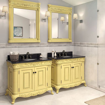 Jeffrey Alexander Antique White Ornate Bathroom Vanity With Black Granite Top Sink Measuring