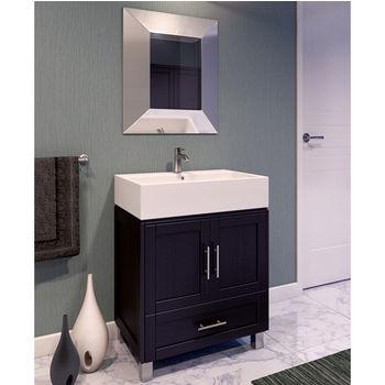 Jeffrey Alexander York Espresso Bathroom Vanity With White Vessel Sink Measuring 28 W X 18 1 4