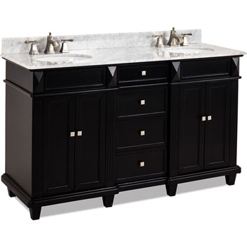 Jeffrey Alexander Douglas Painted Black Double Sink Bathroom Vanity With White Marble Top Porcelain Sink Measuring 60 W X 22 D X 36 H By Jeffrey Alexander Kitchensource Com