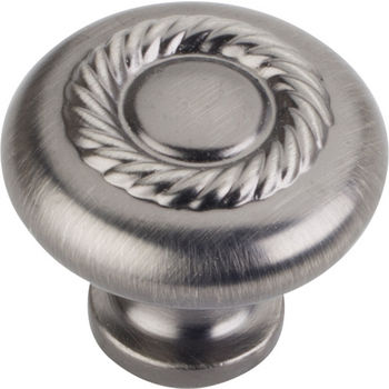 """Jeffrey Alexander Lenior Collection 1-1/4"""" Diameter Round Cabinet Knob with Rope Detail in Brushed Pewter"""
